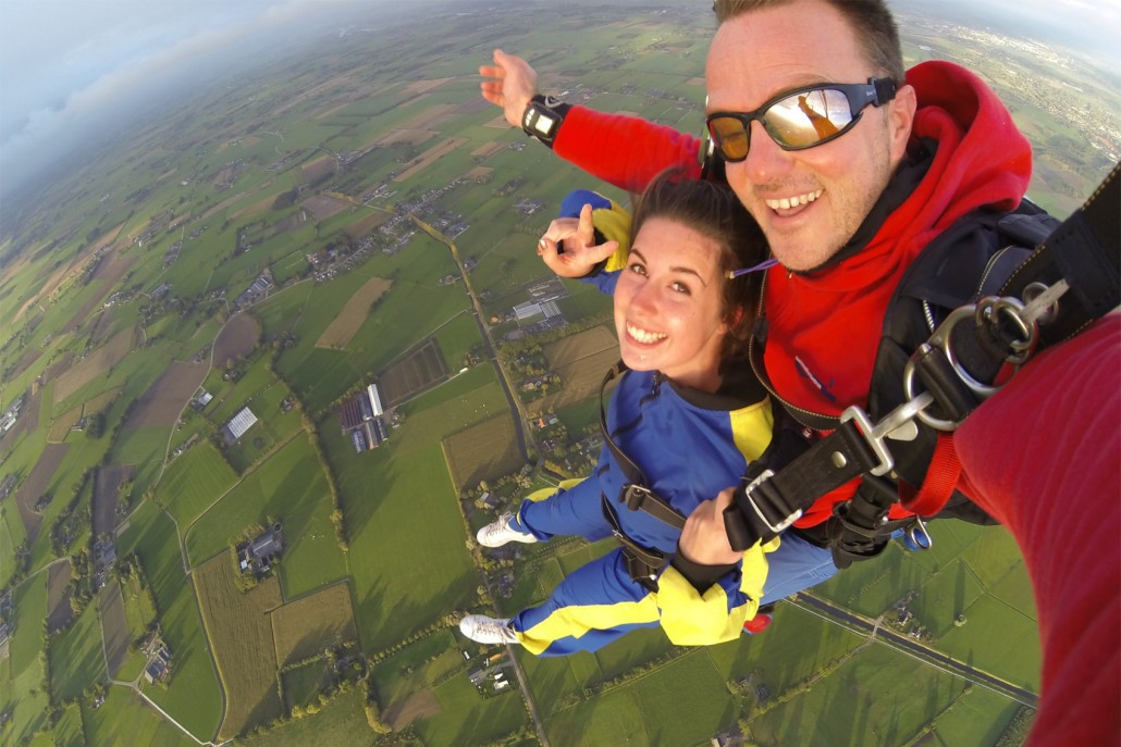Tandem skydive over the countryside